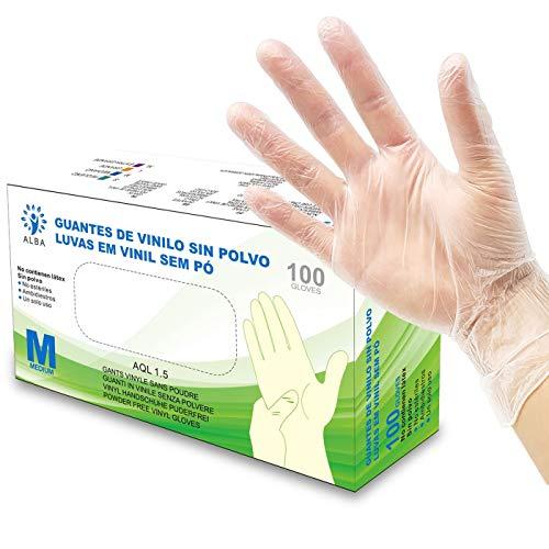 Guantes de Vinilo Sin Polvo 100 Unidades - Talla M - AQL 1.5 Guantes Desechables Ambidiestros Reciclables. Ideales para Uso de Alimentos, Limpieza, Bricolaje, Belleza, Industrial y Sanitario