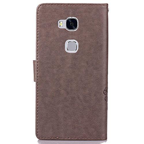 EMAXELERS Huawei Honor 5X Hülle Lucky Clover Schutzhülle Ledertasche Lederhülle Handyhülle Wallet Case Flip Etui Tasche Handytasche mit Standfunktion Karteneinschub,Gray Clover - 3