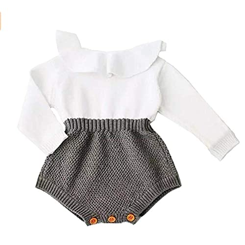 3498e5cd2 Fuior Baby Girls Knitted Romper Ruffle Long Sleeve Sweater Dress Jumpsuit  Autumn Winter Casual Clothing