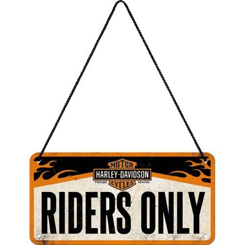 Nostalgic-Art Retro Hängeschild Harley-Davidson – Riders Only – Geschenk-Idee für Biker, aus Metall, Vintage-Design zur Dekoration, 10 x 20 cm