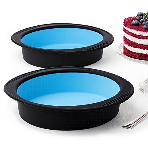 Silikon backform rund kuchenform tarteform torten auflaufform brownie silikonform pie quiche form antihaftbeschichtet silicon 20 cm - Set mit 2