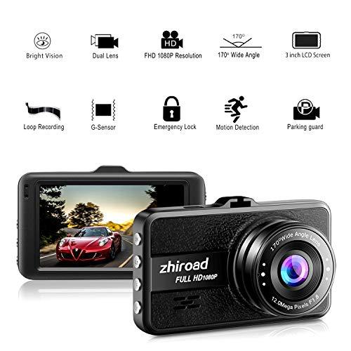 Dash Cam, 1080P FHD 3 pulgadas cámara DVR salpicadero con 170° gran angular, sensor G, WDR, monitor de estacionamiento, grabación en bucle, detección de movimiento coche grabadora de conducción (negro)