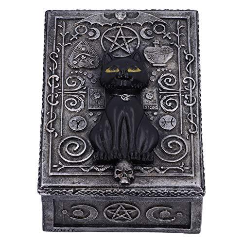Nemesis Now Familiar Spell Black Cat Sigil Trinket Box 13.7cm, Silver