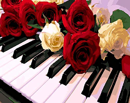 nobrand malen nach Zahlen Erwachsene Tastatur Rose Blume DIY Gemälde nach Zahlen Moderne Wandkunst Malfarbe auf Leinwand für Wohnkultur Mit Rahmen 40X50Cm