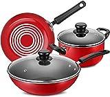TYUIOYHZX Set di pentole da Cucina, Set di pentole in Lega di Alluminio a 3 Pezzi in Lega di Alluminio, minestra |Wok |.Padella