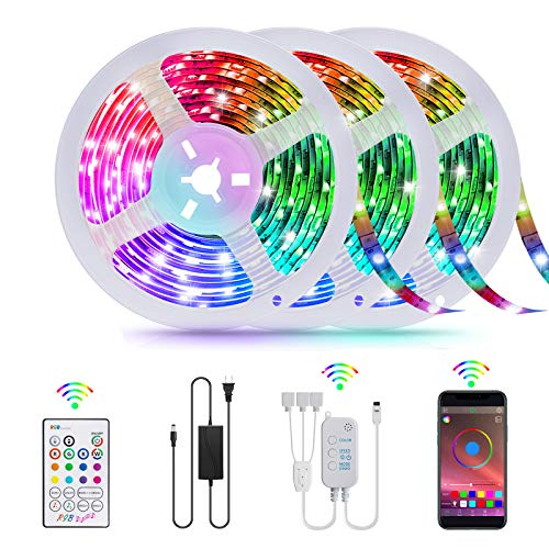 50FT LED Strip Lights, TATUFY 15M Smart Led Lights Strip SMD5050 Music Sync Color Changing RGB Lights APP Bluetooth Control + Remote, LED Lights for Bedroom Party Home Decoration(16.4ft X 3)