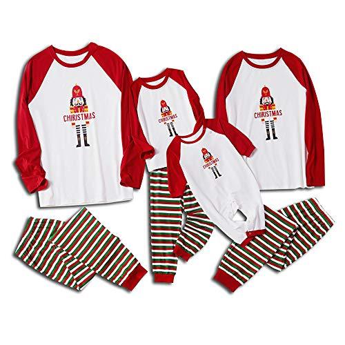 DISCOUNTL Coincidencia de Navidad Pijamas de Navidad Padre-Hijo Conjunto de Pijamas Rojo Blanco Verde Rayas de los Niños Ropa de Navidad Albornoz para las Mujeres