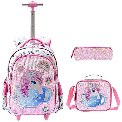 Zaino per ragazze Zaino per bambini con paillettes a doppia faccia Zaino per bambini Set di 3 pezzi con borsa per il pranzo Borsa per matite Unicorno