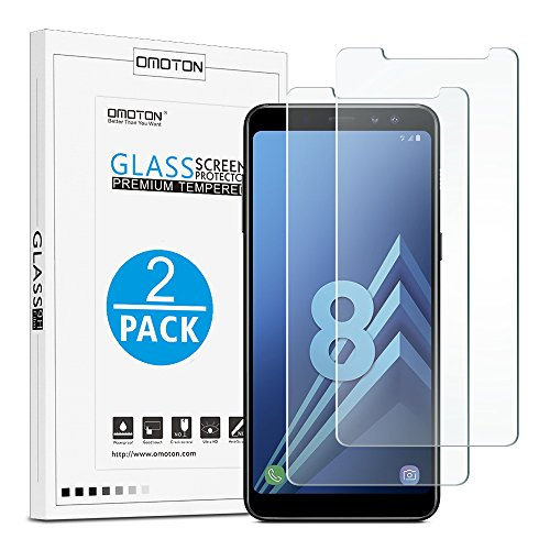 OMOTON [2 Pièces] Film Samsung Galaxy A8 2018 (5.6 Pouces) Protection Ecran Verre Trempé, [9H Dureté] [Ultra Clair] Protecteur D'écran Résiste aux Rayures pour Samsung Galaxy A8 2018