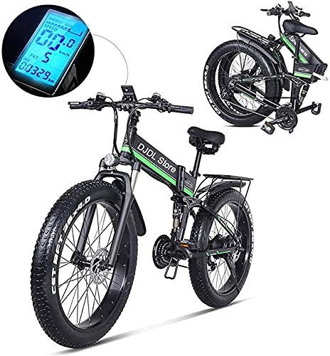 Electric Snow Bike, 21 Speeds 26 Inches Electric Bikes, Folding Electric Mountain Bike, Led Display 350W 48V 10.4Ah Battery Cell E-Bike,Women Men Electric Bicycle Lithium Battery Beach Cruiser for Adu