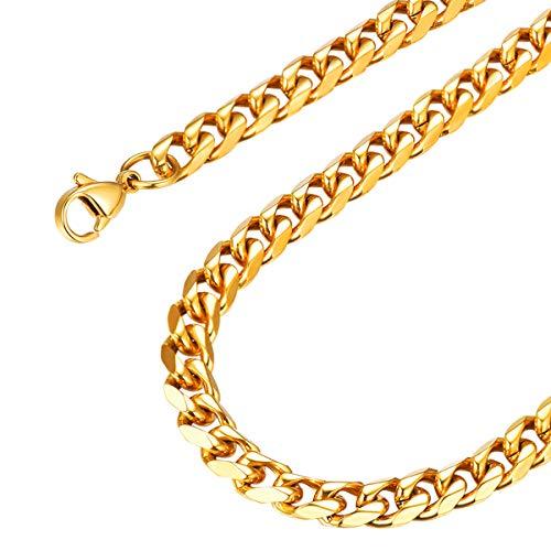 FOCALOOK Herren Panzerkette Halskette 6mm massiv Edelstahl Gliederkette Halskette für Männer Jungen Punk Hip Hop Rapper 18k vergoldet Halsschmuck 55cm/22(Gold)