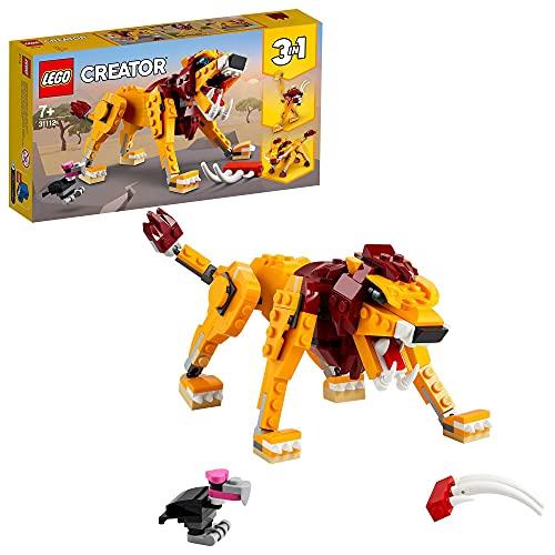 LEGO 31112 Creator 3en1 León Salvaje, Avestruz y Jabalí, Juguetes de Animales para...