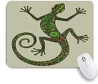 ECOMAOMI 可愛いマウスパッド 爬虫類、エキゾチックな生き物の装飾の周りを移動する民族パターンを持つ装飾用のカラフルなトカゲ 滑り止めゴムバッキングマウスパッドノートブックコンピュータマウスマット