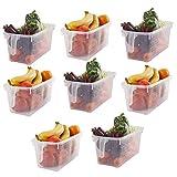 Kurtzy Almacenamiento para Frigorífico (8 Piezas) - (32x15x13,5 cm) Plástico Cestas de Refrigerador con Mango para Organizar Estantes, Alacenas, Baños