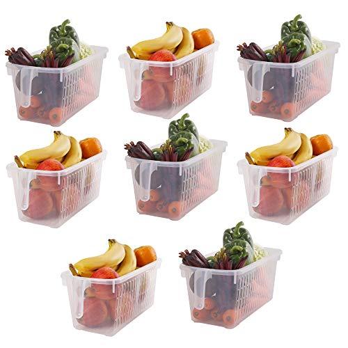 Kühlschrank Aufbewahrungskorb (8er Set) - (32x15x13,5 cm) Kunststoff Organizer Aufbewahrungs Korb mit Henkel zum Speisekammer, Küchen, Büro, Schrank, Regalen, Schlafzimmer