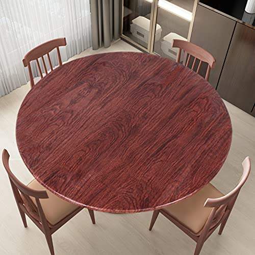 LUSHVIDA Round Waterproof Table Cover Elastic Tablecloth Vinyl Fitted Table Cover Elastic Edged Plastic Table Cover Fits Tables up to 45'-56' R Mahogany