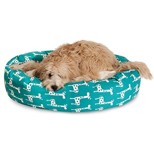 "Majestic Pet 52"" Stretch Turquoise Sherpa Bagel Bed"