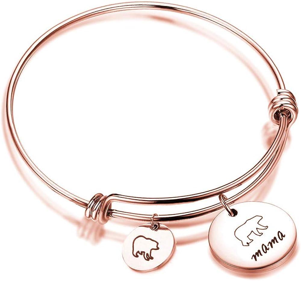 GDKASRNY Mama Bear Bracelet with 1 2 3 Cubs Adjustable Bangle Bracelet Mom Gifts