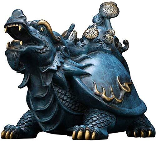 Accesorios para El Hogar Estatua De Tortuga Dragón, Feng Shui Dragón Tortuga Tortugas Estatua De Riqueza Figura, Decoración para El Hogar Regalos Escultura Azul 9.4 Pulgadas