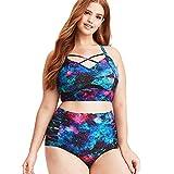 Women's Plus Size Two-Piece Swimwear, Starry Sky Print Bikini Big Size Swimsuit (2XL) Blue