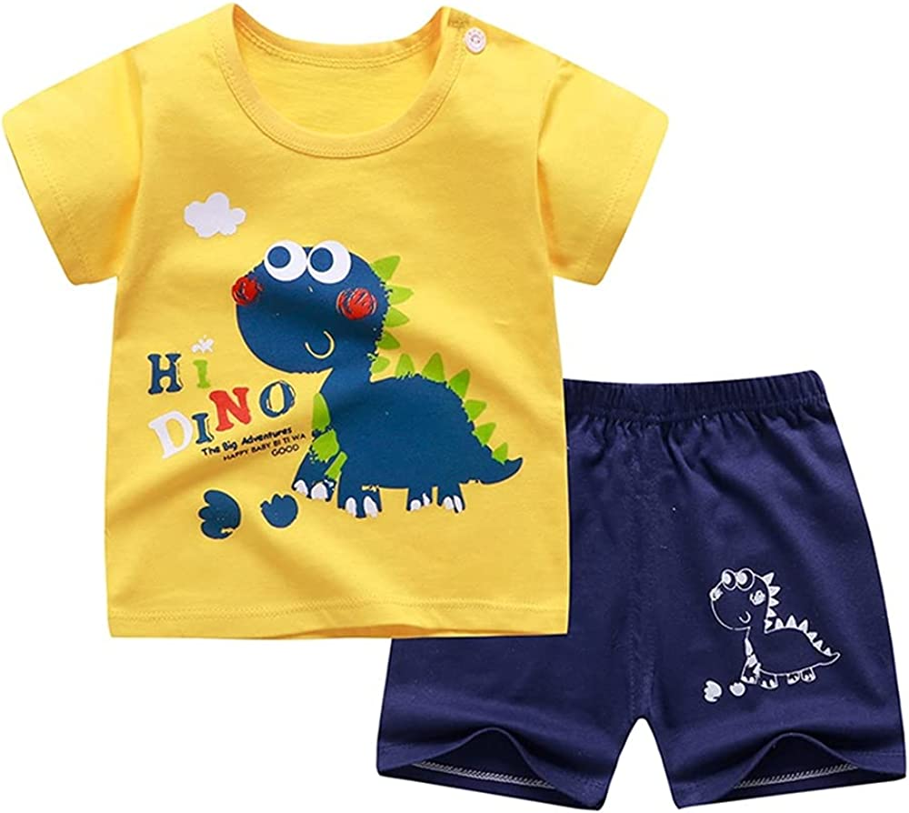 6M-6T 2Pcs Toddler Boy Girl Clothes Cotton Summer Short Sleeve T-Shirt and Shorts Outfit Set