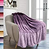 PAVILIA Flannel Fleece Ombre Throw Blanket for Couch | Soft Cozy Microfiber Couch Gradient Accent Blanket | Warm Lightweight Blanket for Sofa Chair Bed | All Season 50x60 Inches Purple Lavender
