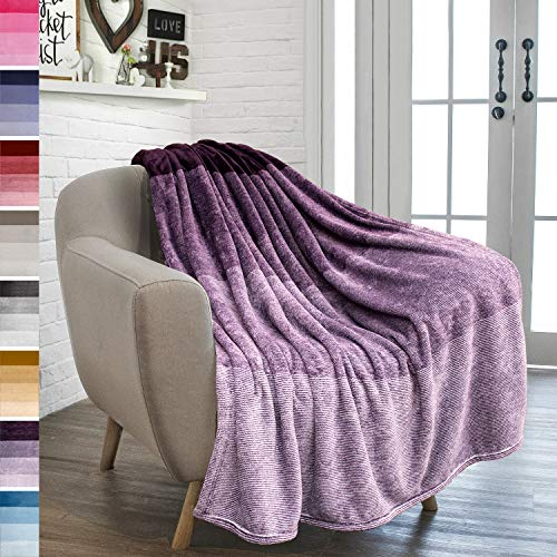 PAVILIA Flannel Fleece Ombre Throw Blanket for Couch | Super Soft Cozy Microfiber Couch Blanket | Gradient Decorative Accent Throw | All Season, 50x60 Inches Purple Lavender