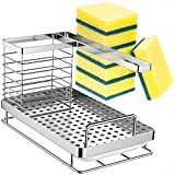 ODesign Kitchen Sink Caddy Organizer with 6 Scrub Sponges Soap Brush Dispenser Dishcloth Holder Dish Rack with Drain Pan Tray Countertop Rustproof Stainless Steel - Silver