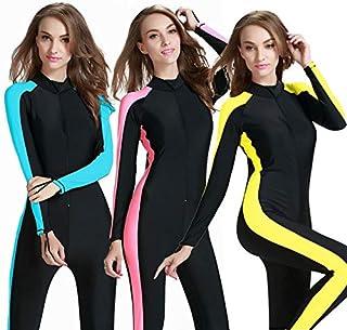 BEESCLOVER Plus 4XL Diving Wetsuit Women Girl Swimwear Surfing Swimsuit Jumpsuit One Piece Long Sleeved Sunscreen Jellyfish Snorkeling Blue XL