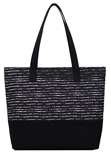 DCCN Canvas Shopper Bag dames handtas boodschappentas met grote capaciteit 33 x 33 cm