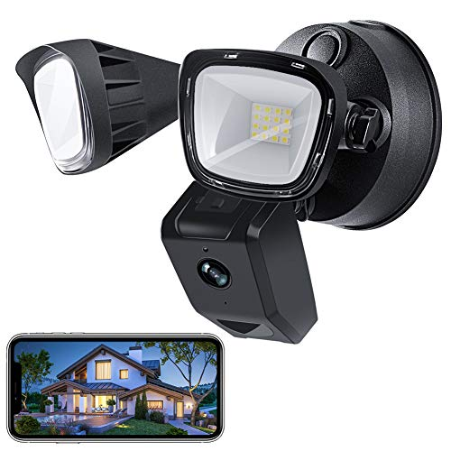 VOLADOR Sicherheitslichter 3000 Lumen Floodlight Cam Aussenleuchte mit Kamera LED Strahler mit Bewegungsmelder Sicherheitskamera mit Flutlicht Gegensprechfunktion und Sirene