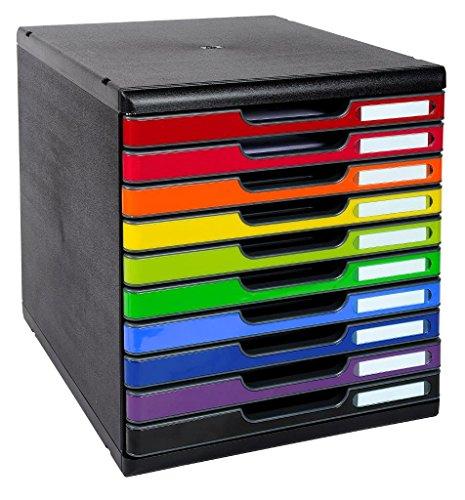 Exacompta - Réf. 302798D - MODULO A4 - Caisson 10 tiroirs fermés pour documents A4+ - Dimensions extérieures : Profondeur 35 x largeur 28,8 x Hauteur 32 cm - Noir/arlequin glossy