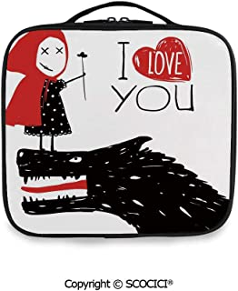 SCOCICI Printed Portable Storage Bag Little Red Riding Hood Loves Bad Horrible Wolf Plot Twist Fairytale Art with Adjustable Compartments and Brush Slots