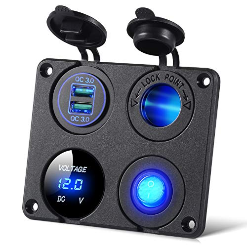 4 en 1 Panel de Toma Cargador con Cargador de Coche USB Dual QC 3.0, Voltímetro Digital LED, Divisor de Encendedor de Cigarrillos, Interruptor de Palanca Encendido-Apagado, Panel Multifunción