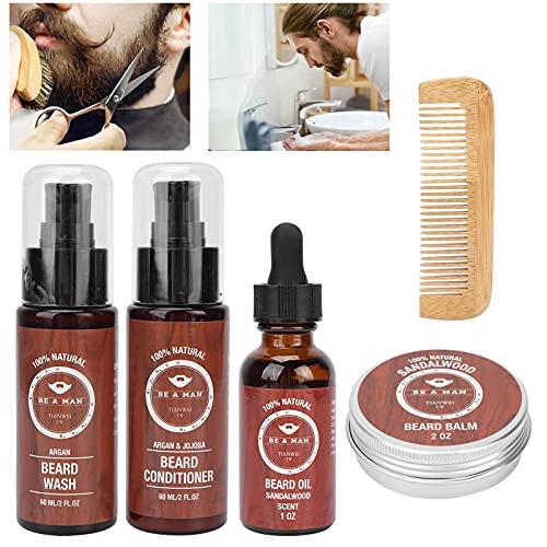 Aceite para barba, conveniente kit de cuidado de barba para reducir la pérdida de barba, aspecto brillante y suave con kit para uso doméstico y peluquería profesional para cualquier tipo de