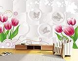 Papel Pintado 3D Círculo De Mariposa De Origami De Tulipán Fotomurale 3D Tv Telón De Fondo Pared Decorativos Murales