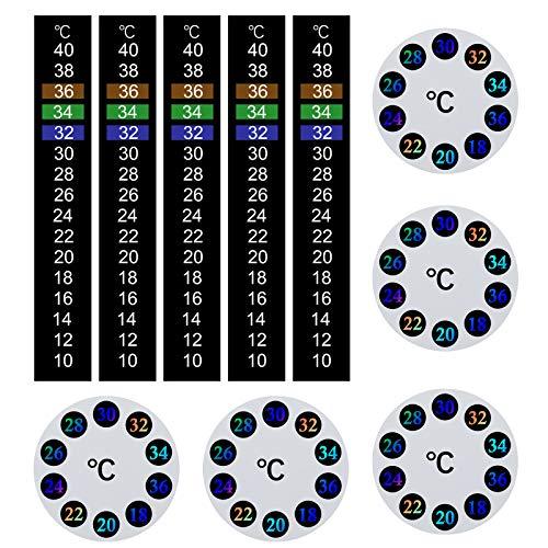 Juego de 10 termómetros adhesivos para pegar con cambio de color, tira de termómetro digital redonda de lectura instantánea de temperatura para acuario, pecera (grado Celsius)