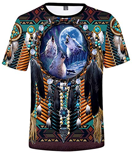 SIAOMA Unisex Native American Short Sleeve Tees Native Indians T-Shirt for Men(Feather Wolf,Large)