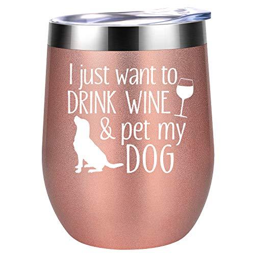 Dog Mom Gifts - Dog Lover Gifts for Women, Dog Owner Gifts, Gifts for Dog Lovers - Funny Valentines Day, Birthday Gifts for Dog Mom, Dog Lady, Fur Mama, Dog People - Coolife Wine Tumbler Dog Mom Mug