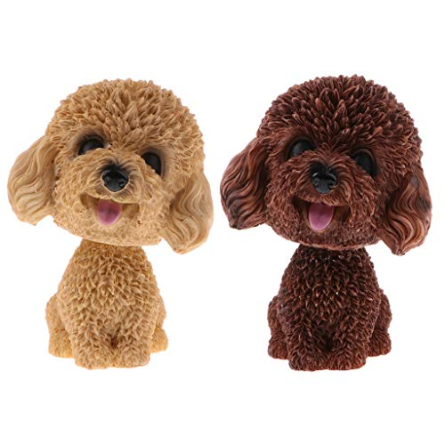 2 Stücke Mini Wackelfigur Hunde Pudel Dekofigur Schütteln Kopf Hund Tiermodell Auto Armaturenbrett Dekoration
