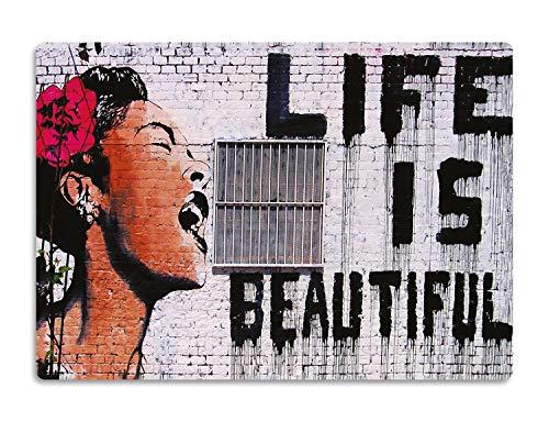 Giallobus - Quadro - Banksy - Life is Beautiful - Stampa su Legno MDF - Pronto da Appendere - 42x29,7 cm