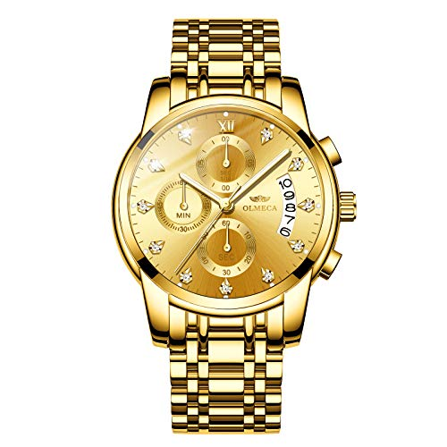 OLMECA Men's Watches Sports Fashion Wristwatches Rhinestone Diamonds Watches Waterproof Fashion Quartz Watches Boys Watch Stainless Steel Watch Gold Color 827-QJgd