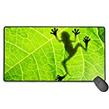 Keyboard Mouse Pads Anti-Slip Mousepad Biology Animal Cute Frog Shadow Leaf Extended Large Thick Gaming Mouse Mat Pad with Stitched Edge Cute Funny Novel for Games Work Study PC Computers