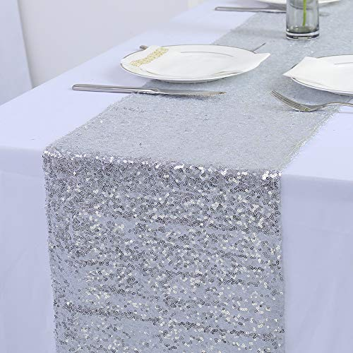 Zdada 12x90-Inch Christmas Sequin Table Runner Rectangle Sequin Table Runner Silver Glitter Table Runner for Wedding Party