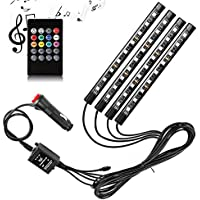 4-Pieces Adecorty Car LED Strip Light with Sound Active Function