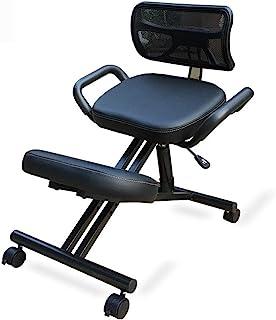 Silla arrodillada para oficina, postura ergonómica Taburete de escritorio con respaldo para la rodilla, Silla de trabajo ajustable con asas, Asiento de meditación, Cuero de imitación, Equilibrio del r