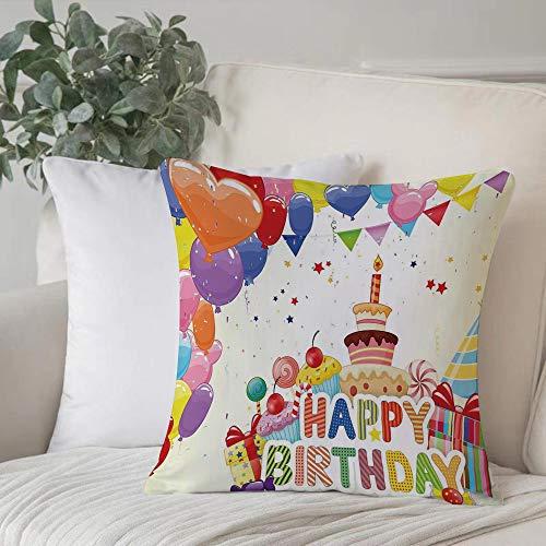 Funda de Cojín,Funda de Almohada Cuadrada para Asiento,Decoraciones de cumpleaños, Globos divertidos en forma de corazón CupFundas de Almohada para Sofá Decorativas Dormitorio Coche Pulgada 45 x 45 cm
