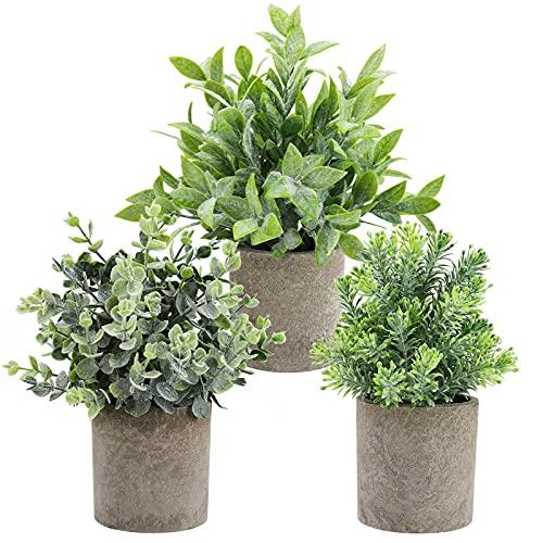 THE BLOOM TIMES Juego de 3 pequeñas Plantas Falsas de plástico rústico de imitación en macetas...
