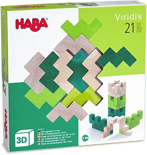 HABA 304410 - 3D-Legespiel Viridis, 21 Holzbausteine in 3 Farben für kreatives Legen und Bauen in alle Richtungen, Spielzeug ab 3 Jahren