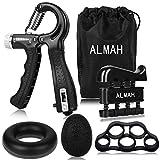 ALMAH Hand Grip Strengthener kit(5 Pack), Forearm Trainer for Adjustable Resistance Hand...